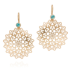 Ornament Ohrringe in Rosegold mit blauem Zirkon